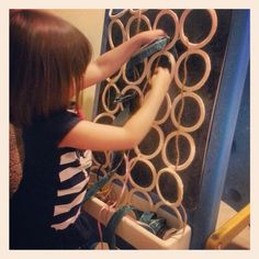 """Weaving easel made with ikea hanger! This is an original """"snake puppy"""" created by my daughter"""