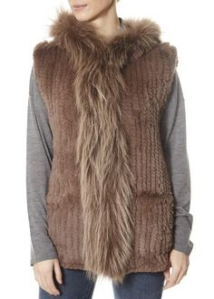 Taupe Rabbit Gilet With Raccoon Trim