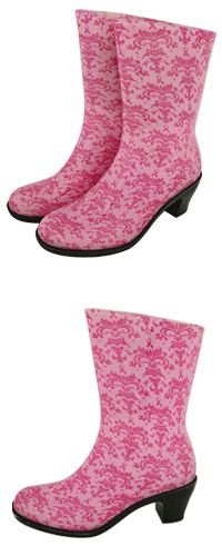 Pink Ribbon Damask Rain Boots at The Breast Cancer Site