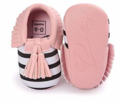 Striped Baby Moccasins - 3 colors! $7.99