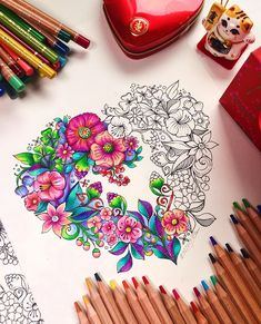 Hello February🌷Here is one of my Test coloring motive on the new Fabriano sketching paper. Was fun and I love not to finish it… Doodle Art Drawing, Mandala Drawing, Art Drawings, Colorful Drawings, Colored Pencil Artwork, Color Pencil Art, Coloring Book Art, Coloring Pages, Adult Coloring