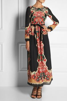 RED Valentino | Printed wool maxi dress | NET-A-PORTER.COM