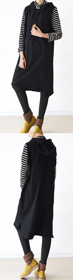 2017 black hoodied cotton vest oversized cotton dresses winter