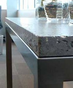 "Squak Mountain Stone is ""A Fibrous-cement material comprised of recycled paper, recycled glass, and low-carbon cement. Material is hand-cast into ""slabs"" as an alternative to natural or quarried stone. Resembles soapstone or limestones. Cement Countertops, Solid Surface Countertops, Cement Floors, Recycled Countertops, Countertop Materials, Home Design, Slow Design, Urban Design, Cement"