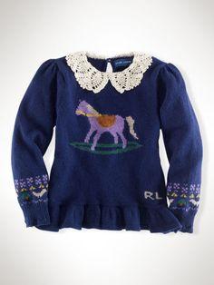 Intarsia-Knit Horse Pullover - Girls 2-6X Sweaters - RalphLauren.com
