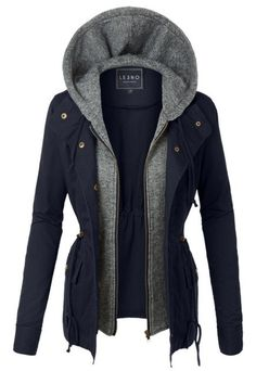 Take Charge Cargo Jacket With Hood in Navy – Ivory Gem