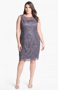 Adrianna Papell Sleeveless Lace Dress - Plus Size cocktail dresses - Charcoal. Plus Size Lace Dress, Plus Size Cocktail Dresses, Plus Size Dresses, Plus Size Outfits, Lace Dresses, Dress Lace, Looks Plus Size, Look Plus, Plus Size Fashion For Women
