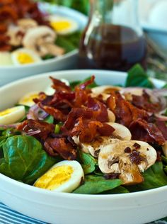 A delicious Spinach Salad recipe with an amazing Warm Bacon Dressing