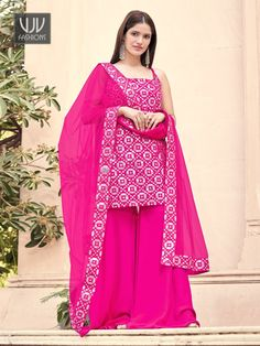 Rs4,000.00 Palazzo Dress, Palazzo Suit, Mode Bollywood, Bollywood Fashion, Indian Dresses, Indian Outfits, Indian Clothes, Sharara Suit, Salwar Kameez