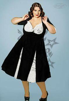 Vestido Raquel Negro/Lunares Talla grande. Vestido rockabilly pin up negro, el escote se cierra con un lazo y es de lunares negros sobre fondo blanco, ig...