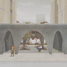 De Boele - Housing Reform in Zuidas - KooZA/rch Arcade Architecture, Architecture Concept Drawings, Architecture Collage, Architecture Graphics, Architecture Visualization, School Architecture, Landscape Architecture, Architecture Design, Architecture Illustrations