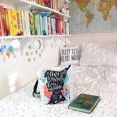 Cute Bookshelf and Bed Decor