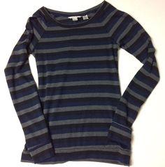 Derek Heart Womens Medium Top Striped Black Grey Blue Long Sleeve Crewneck | eBay