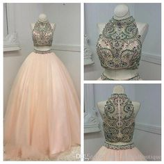 2016 Two Pieces Prom Dresses Real Photos Beading Crystals Pearls Pink Tulle Ball Gown Two Pieces Quinceanera Dresses With Zipper Back Prom Dress Stores In Ohio Prom Dress Under 50 From Uniquebridalboutique, $170.86| Dhgate.Com