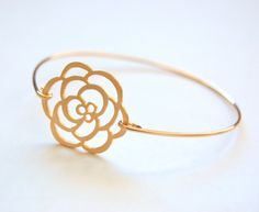 Golden Rose Bangle Bracelet Gold Bangle by CorinnaMaggyDesigns