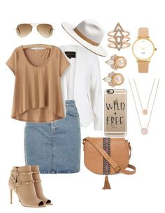 """Tan & White with a hint of jean"" by liliana82203 on Polyvore featuring River Island, Topshop, T-shirt & Jeans, Carolee, Valentino, rag & bone, Ray-Ban, Michael Kors, Casetify and Kate Spade"
