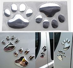 1 Pairs Enormous Unique 3D Pets Paw Sticker Cat Emblem Dog Foot Prints Window Badge Bike Graphics Vinyl Stickers Decor Kids Room Macbook Laptop Patches Luggage Hoverboard Decal Colors Silver | Dog Paw Print Paint