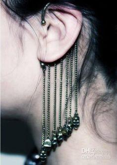 punk fashion for women   Wholesale women's fashion Chain Skull ear cuff punk earrings cuff Hip ...
