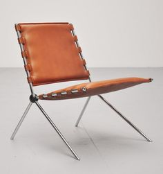 Paul Schneider von Esleben; #PSE58 Leather, Chromed and Enameled Metal Chair by H.Kauffeld for Mannesmann-Hochhaus, 1953.