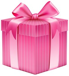 Pink Striped Gift Box PNG Clipart Picture