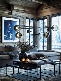 〚 Exquisite contemporary chalet in Norway〛interior design home decor idea inspiration cozy style wooden cottage dark atmosphere sofa 570198002821201820 Chalet Design, Chalet Style, House Design, Design Design, Design Ideas, Ski Chalet, Cottage Design, Design Trends, Dark Interiors