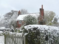 English cottage in the snow