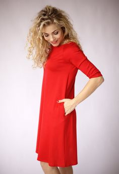 Red dress casual dress red long sleeve dress with by ADORIQUE