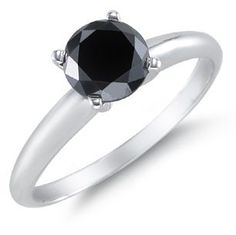 1 Carat Black Diamond Solitaire Ring [Jewelry], Genuine Black Diamond Solitaire Ring set in White Gold. Center black diamond weighs a total of 1 Carat. Black Diamond Carat Weight: Minimum of to Carat Metal Type: Solid White Gold . 1 Carat, Black Diamond Engagement, Solitaire Engagement, Jewelry Trends 2018, Cheap Wedding Rings, Wedding Bands, Wedding Jewelry, Wedding Stuff, Traditional Engagement Rings