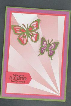 Ingrid Nellen heeft het idee van de starburst met het Oh So Ombre designpapier van Laura Seki gekregen. Wat een prachtige manier om dit schitterende papier te gebruiken! Ingrid heeft de kaart verder versierd met vlinders die zijn uitgesneden met de Butterfly Beauty dies, een tekst uit Punch Party en het uiteinde van haar labeltje met de Treasured Tags Pick-A-Punch gestanst. Een prachtige combinatie #prulleke #prullekekleurencombinatie #stampinupnederland #ohsoombredsp #2021sab… Feel Better, Stampin Up, How Are You Feeling, Feelings, Stamping Up
