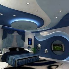 10 Amazing Tips: False Ceiling Design With Chandelier false ceiling hall products.Plain False Ceiling Ideas false ceiling section interior design. Bedroom False Ceiling Design, False Ceiling Living Room, Bedroom Ceiling, Modern Bedroom Design, Modern Bedrooms, Contemporary Bedroom, Blue Rooms, Blue Bedroom, Master Bedroom