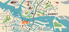 Illustrated map of Amsterdam for KLM Holland Herald magazine by Jasmijn Evans