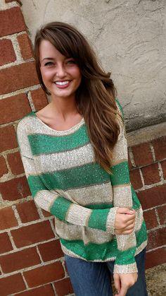Bold Green Striped Sweater | The Rage