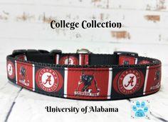 University of Alabama Dog Collar, Roll Tide Pet Collar, Crimson Tide Dog Collar, Adjustable Dog Collar, Cute Boy Dog Collar, Puppy Collar by twstitchanddesign on Etsy