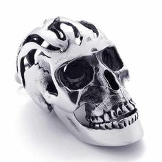MyTime Jew 316L Stainless Steel Necklace Black Skeleton Hollow Skull Heads Pendant 20820 by MyTime Jew -- Awesome products selected by Anna Churchill