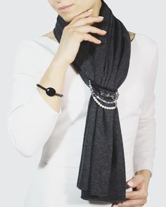 Scarf with jewels Grey Scarf Grey outfits  Sciarpa gioiello
