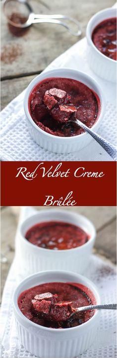 Smooth, creamy chocolate creme brûlée dressed up in red for the holiday / panophotography. Red Velvet Desserts, Red Velvet Recipes, Cupcakes, Dessert Drinks, Dessert Recipes, Drink Recipes, Chocolate Creme Brulee, Chocolate Souffle, Chocolate Chocolate
