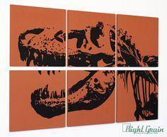 Dinosaur Wall Art  Custom Made Trex Screen Print by RightGrain