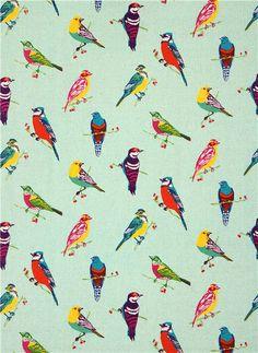 turquoise birds echino Canvas laminate fabric with birds