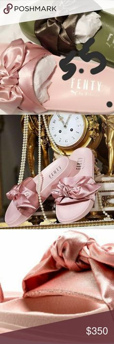 Fenty Puma Bow Slides Bundle SOLD OUT (IN THIS SIZE ONLY) Pre-release/Brand New THEY WILL restock in Sept. I think  No need to tell me they still have them... only in larger sizes so that means nothing here. Sorry! 3 pairs avail. 2 rose/1 olive  (Last pic is only for comparison to the fur slide)  100% Authentic  I can include receipts I ordered the pink ones 2/9 early so they were $50 xtra Will arrive in all original packaging   ** runs large, If you are a womens 7, please order 6.5 Puma…