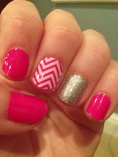 Pink chevron with Jamberry Nails! www.nailswithjess.jamberrynails.com