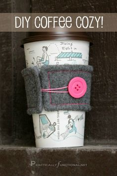 Make a reusable felt coffee cozy in any color you want! Great handmade gift idea for the coffee or tea lover in your life!