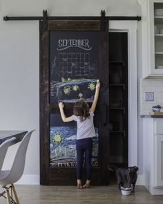 Shop the fun and practical Sliding Chalkboard Barn Door that is perfect for your kitchen, pantry or playroom. The two panel design brings added durability, shop for your chalkboard door today. The Doors, Sliding Doors, Front Doors, Entry Doors, Patio Doors, Porta Diy, Kitchen Pantry Doors, Barn Door Pantry, Kitchen Pantries