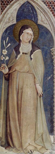 ❤ - SIMONE MARTINI (1285 -1344) - Saint Clare and Saint Elizabeth of Hungary, detail -1317. Fresco, 215 x 185 cm. Cappella di San Martino, Lower Church, San Francesco, Assisi.