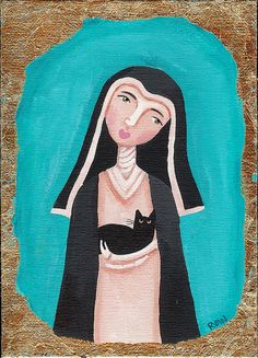 St Gertrude Nivelles & Cat by Kilkennycat, via Flickr Patron Saint Of Cats, Vintage Advertising Posters, Bride Of Christ, All About Cats, Cat People, Catholic Saints, Rainbow Bridge, Crazy Cats, Cool Cats