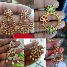 Affordable and heavy look chandbalis collection with light weight. 22 carat gold metal used earrings.  Left: Ruby floral chandbalis with g...
