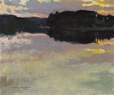 "huariqueje: "" Sunset - Vilho Sjöström , 1920 Finnish, 1873–1944 oil on canvas…"