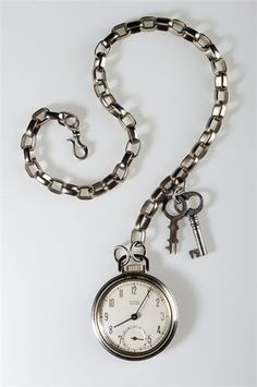 51dae1b1a The Big Time : Man's Pocket Watch on Heavy Faux Chain with Vintage Keys  Silver Locking Hook