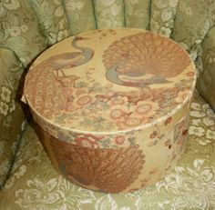 Antique Fabric Covered Hat Box Band Box Peacocks   eBay