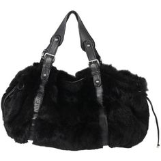 Preowned Jil Sander Black Lapin Fur & Leather Tote Shoulder Bag ($410) ❤ liked on Polyvore featuring bags, handbags, tote bags, black, totes, drawstring tote bags, leather tote purse, leather tote bags, handbags totes and drawstring tote