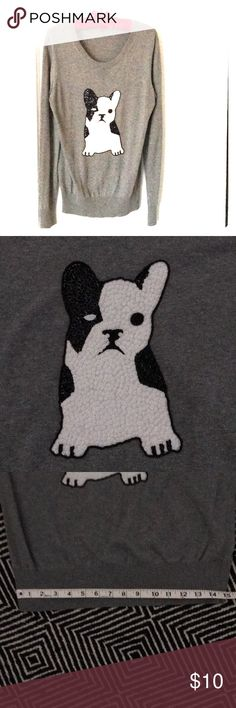 """Adorable French Bulldog Sweater Black and white sequined French Bulldog applied to grey light-weight, soft wool sweater.  Scoop neck.  Looks great with a white collared shirt.  Good used condition.  Dry-cleaned and ready for you.  Small defect on inside neckline where tag was removed.  Size M.  26"""" L from Shoulder 26"""" L Sleeve, but can be cuffed 18"""" across chest 15"""" across front hem Sweaters Crew & Scoop Necks Wool Sweaters, Black Sweaters, Cute French Bulldog, Grey Light, Looks Great, Scoop Neck, Neckline, Black And White, Shoulder"""